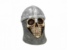 Medieval Templar Knight Skull Figurine Statue Ornament or Gothic Gift